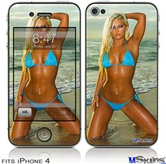 iPhone 4 Decal Style Vinyl Skin - Whitney Jene Blue Bikini  (DOES NOT fit newer iPhone 4S)