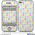 iPhone 4 Decal Style Vinyl Skin - Kearas Hearts White (DOES NOT fit newer iPhone 4S)