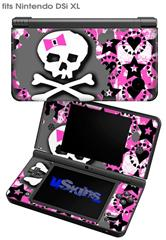 Pink Bow Skull - Decal Style Skin fits Nintendo DSi XL (DSi SOLD SEPARATELY)