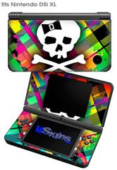 Rainbow Plaid Skull - Decal Style Skin fits Nintendo DSi XL (DSi SOLD SEPARATELY)