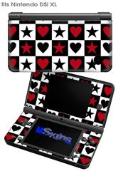 Hearts and Stars Red - Decal Style Skin fits Nintendo DSi XL (DSi SOLD SEPARATELY)