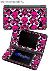 Pink Skulls and Stars - Decal Style Skin fits Nintendo DSi XL (DSi SOLD SEPARATELY)