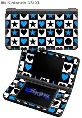 Hearts And Stars Blue - Decal Style Skin fits Nintendo DSi XL (DSi SOLD SEPARATELY)
