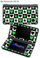 Hearts And Stars Green - Decal Style Skin fits Nintendo DSi XL (DSi SOLD SEPARATELY)
