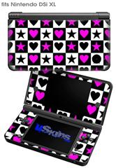 Hearts And Stars Pink - Decal Style Skin fits Nintendo DSi XL (DSi SOLD SEPARATELY)