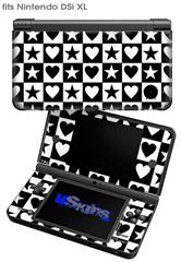 Hearts And Stars Black and White - Decal Style Skin fits Nintendo DSi XL (DSi SOLD SEPARATELY)