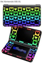 Love Heart Checkers Rainbow - Decal Style Skin fits Nintendo DSi XL (DSi SOLD SEPARATELY)