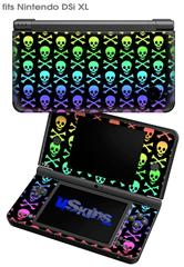 Skull and Crossbones Rainbow - Decal Style Skin fits Nintendo DSi XL (DSi SOLD SEPARATELY)