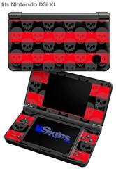 Skull Stripes Red - Decal Style Skin fits Nintendo DSi XL (DSi SOLD SEPARATELY)