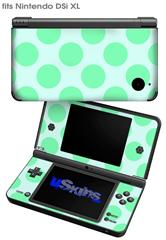 Kearas Polka Dots Green On Green - Decal Style Skin fits Nintendo DSi XL (DSi SOLD SEPARATELY)