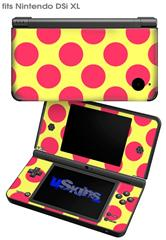 Kearas Polka Dots Pink And Yellow - Decal Style Skin fits Nintendo DSi XL (DSi SOLD SEPARATELY)