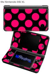 Kearas Polka Dots Pink On Black - Decal Style Skin fits Nintendo DSi XL (DSi SOLD SEPARATELY)