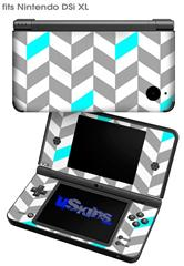 Chevrons Gray And Aqua - Decal Style Skin fits Nintendo DSi XL (DSi SOLD SEPARATELY)