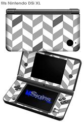Chevrons Gray And Charcoal - Decal Style Skin fits Nintendo DSi XL (DSi SOLD SEPARATELY)