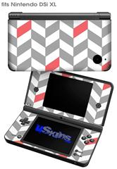 Chevrons Gray And Coral - Decal Style Skin fits Nintendo DSi XL (DSi SOLD SEPARATELY)