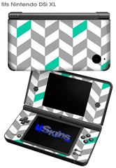 Chevrons Gray And Turquoise - Decal Style Skin fits Nintendo DSi XL (DSi SOLD SEPARATELY)