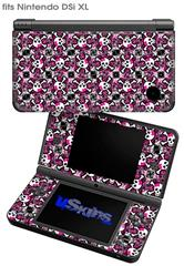 Splatter Girly Skull Pink - Decal Style Skin fits Nintendo DSi XL (DSi SOLD SEPARATELY)