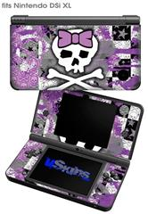 Princess Skull Purple - Decal Style Skin fits Nintendo DSi XL (DSi SOLD SEPARATELY)