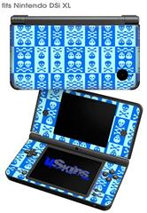 Skull And Crossbones Pattern Blue - Decal Style Skin fits Nintendo DSi XL (DSi SOLD SEPARATELY)