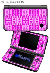 Skull And Crossbones Pattern Pink - Decal Style Skin fits Nintendo DSi XL (DSi SOLD SEPARATELY)