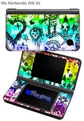 Scene Kid Sketches Rainbow - Decal Style Skin fits Nintendo DSi XL (DSi SOLD SEPARATELY)