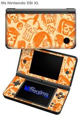Skull Sketches Orange - Decal Style Skin fits Nintendo DSi XL (DSi SOLD SEPARATELY)