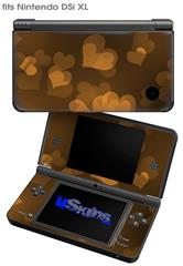 Bokeh Hearts Orange - Decal Style Skin fits Nintendo DSi XL (DSi SOLD SEPARATELY)