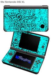 Folder Doodles Neon Teal - Decal Style Skin fits Nintendo DSi XL (DSi SOLD SEPARATELY)