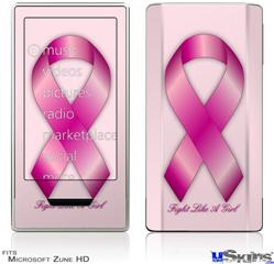 Zune HD Skin - Fight Like a Girl Breast Cancer Pink Ribbon on Pink