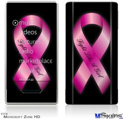 Zune HD Skin - Fight Like a Girl Breast Cancer Pink Ribbon on Black