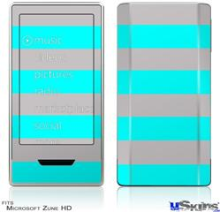 Zune HD Skin - Psycho Stripes Neon Teal and Gray