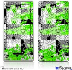 Zune HD Skin - Checker Skull Splatter Green