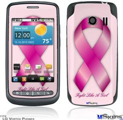 LG Vortex Skin - Fight Like a Girl Breast Cancer Pink Ribbon on Pink