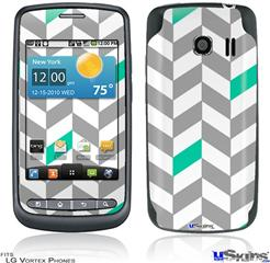 LG Vortex Skin - Chevrons Gray And Turquoise