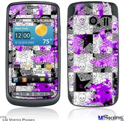 LG Vortex Skin - Purple Checker Skull Splatter