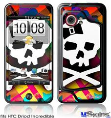 HTC Droid Incredible Skin - Rainbow Plaid Skull