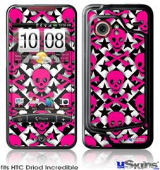 HTC Droid Incredible Skin - Pink Skulls and Stars
