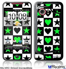 HTC Droid Incredible Skin - Hearts And Stars Green