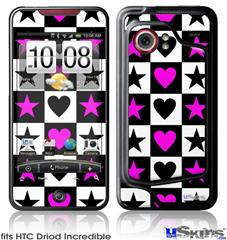 HTC Droid Incredible Skin - Hearts And Stars Pink