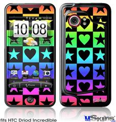 HTC Droid Incredible Skin - Hearts And Stars Rainbow
