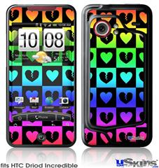 HTC Droid Incredible Skin - Love Heart Checkers Rainbow