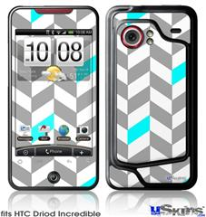 HTC Droid Incredible Skin - Chevrons Gray And Aqua