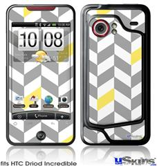 HTC Droid Incredible Skin - Chevrons Gray And Yellow