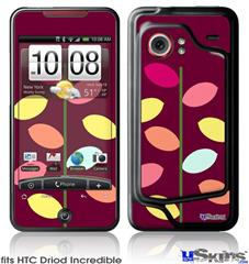 HTC Droid Incredible Skin - Plain Leaves On Burgundy