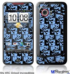 HTC Droid Incredible Skin - Skull Checker Blue