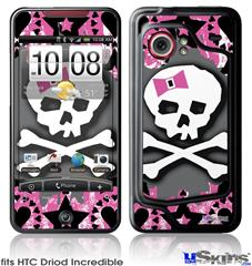HTC Droid Incredible Skin - Pink Bow Skull