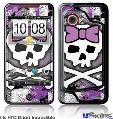 HTC Droid Incredible Skin - Princess Skull Purple