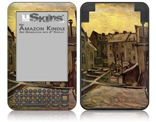 Vincent Van Gogh Backyards Of Old Houses In Antwerp In The Snow - Decal Style Skin fits Amazon Kindle 3 Keyboard (with 6 inch display)