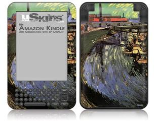 Vincent Van Gogh Canal With Women Washing - Decal Style Skin fits Amazon Kindle 3 Keyboard (with 6 inch display)