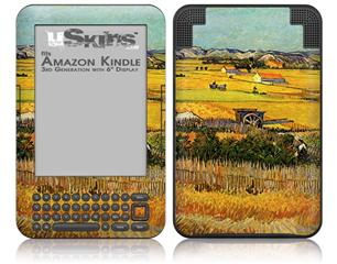 Vincent Van Gogh Harvest At La Crau With Montmajour In The Background - Decal Style Skin fits Amazon Kindle 3 Keyboard (with 6 inch display)